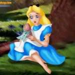 Alice in Wonderland nude is bouncing on dildo on a glade